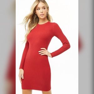 New Red Ribbed Bodycon Sweater Dress